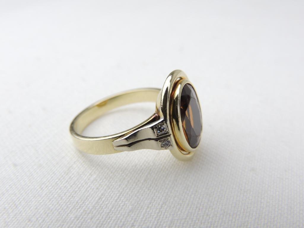 14k Yellow Gold Orange Tourmaline/Diamond Ring - 2