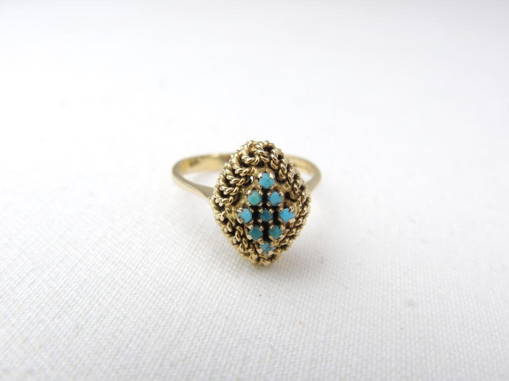 10k Yellow Gold Turquoise Ring