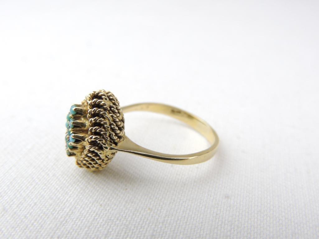10k Yellow Gold Turquoise Ring - 2