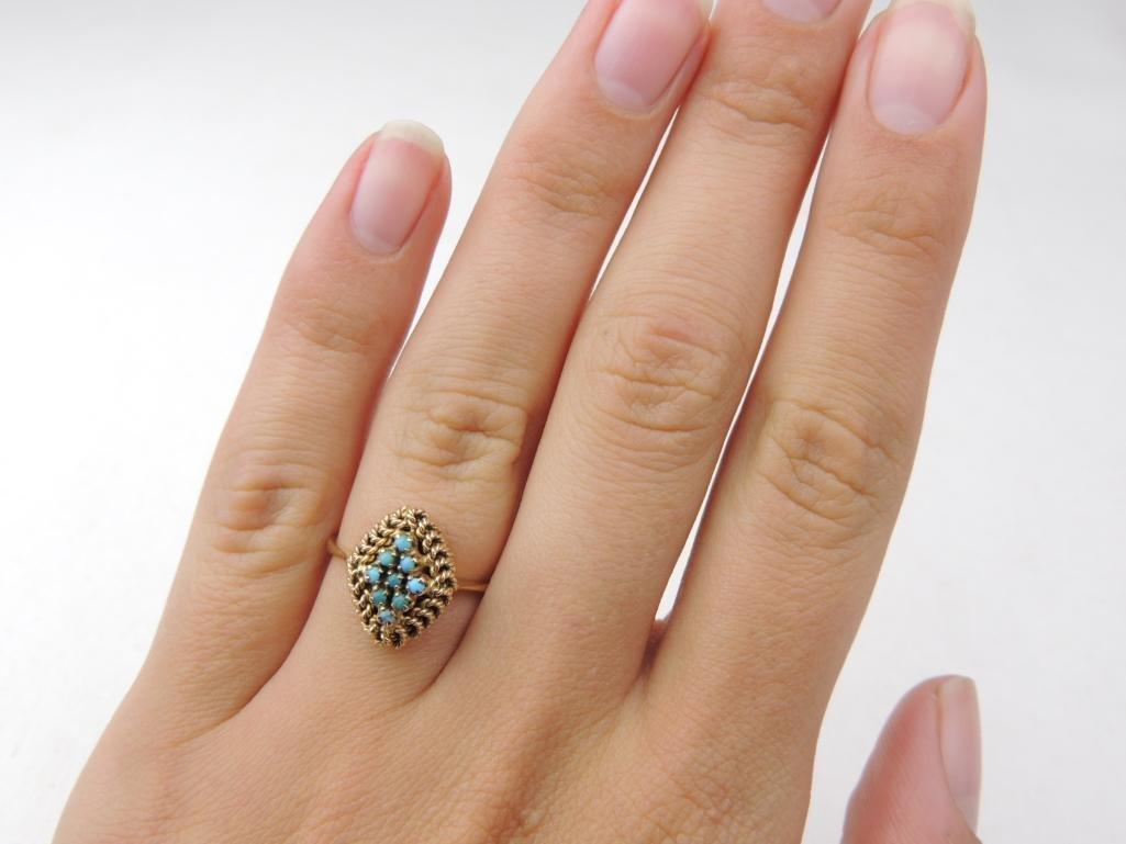 10k Yellow Gold Turquoise Ring - 3