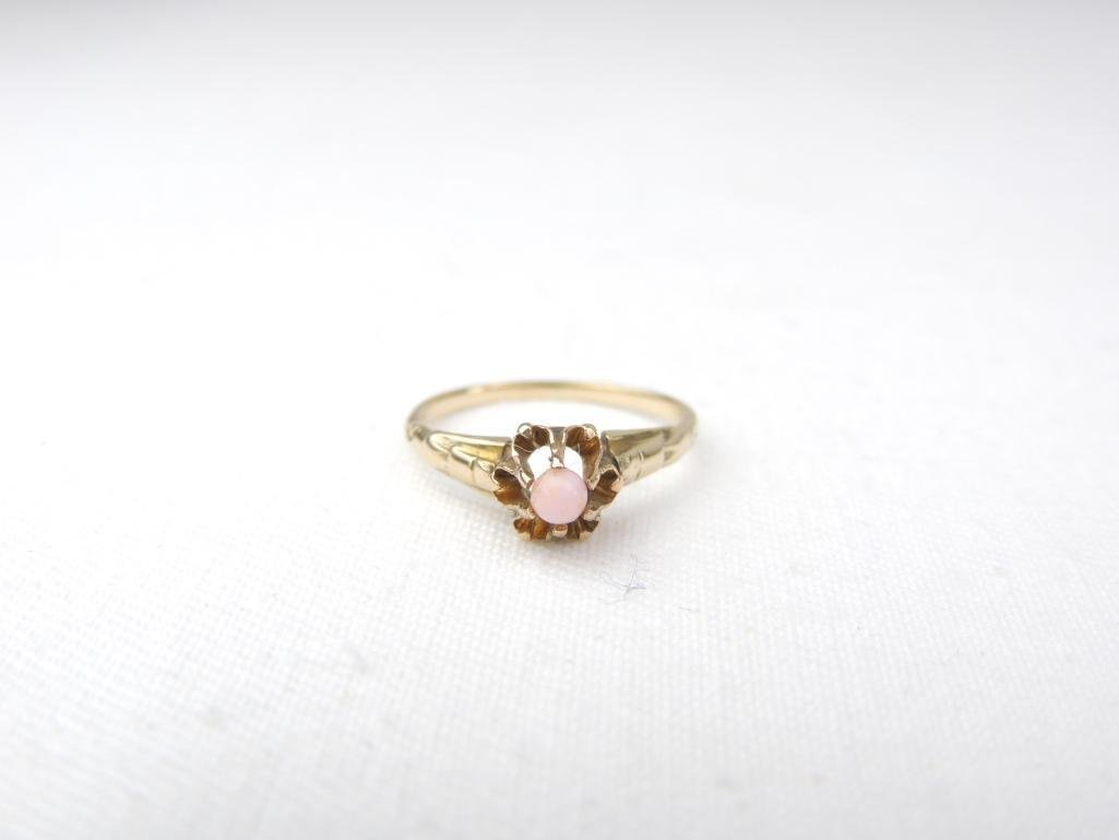 14k Yellow Gold Pink Coral Ring