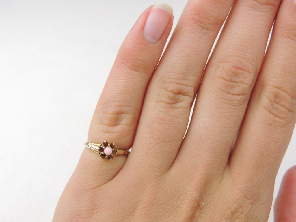 14k Yellow Gold Pink Coral Ring - 3