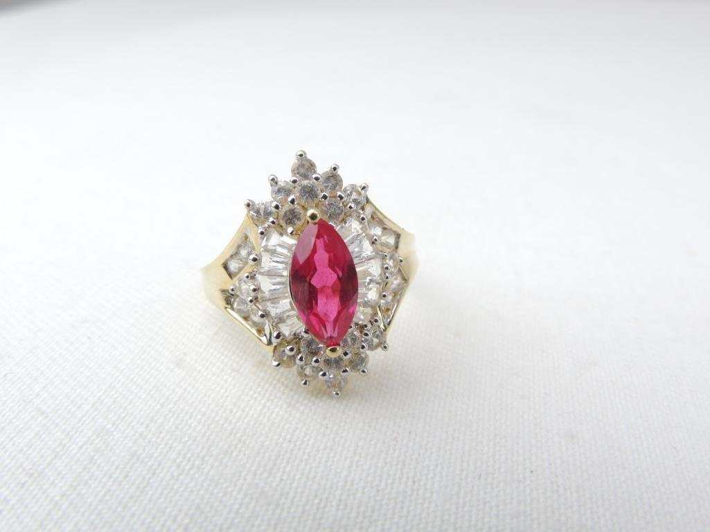 10k Yellow Gold White/Pink Sapphire Ring