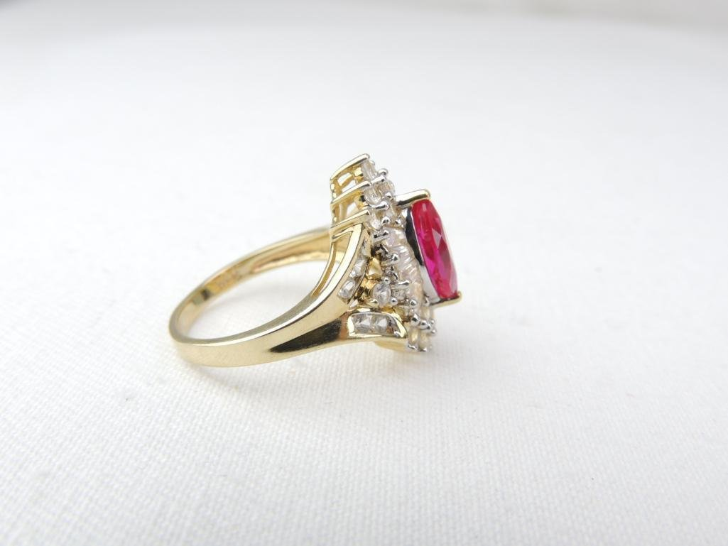 10k Yellow Gold White/Pink Sapphire Ring - 2