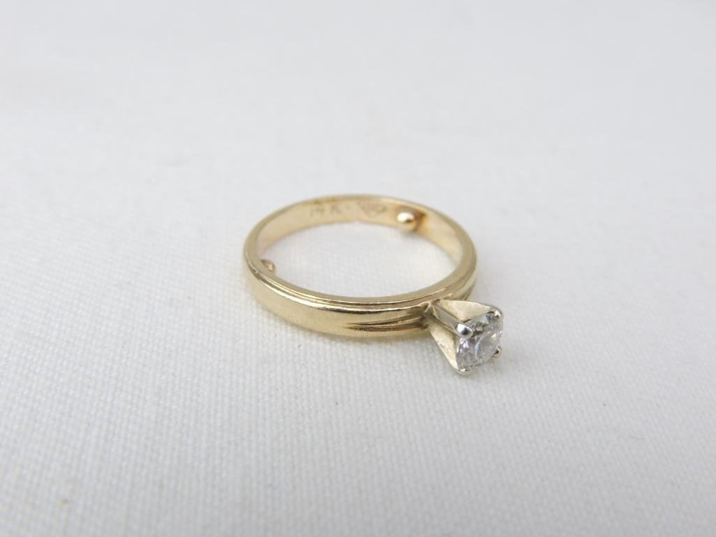 14k Yellow Gold Diamond Solitaire Ring - 2