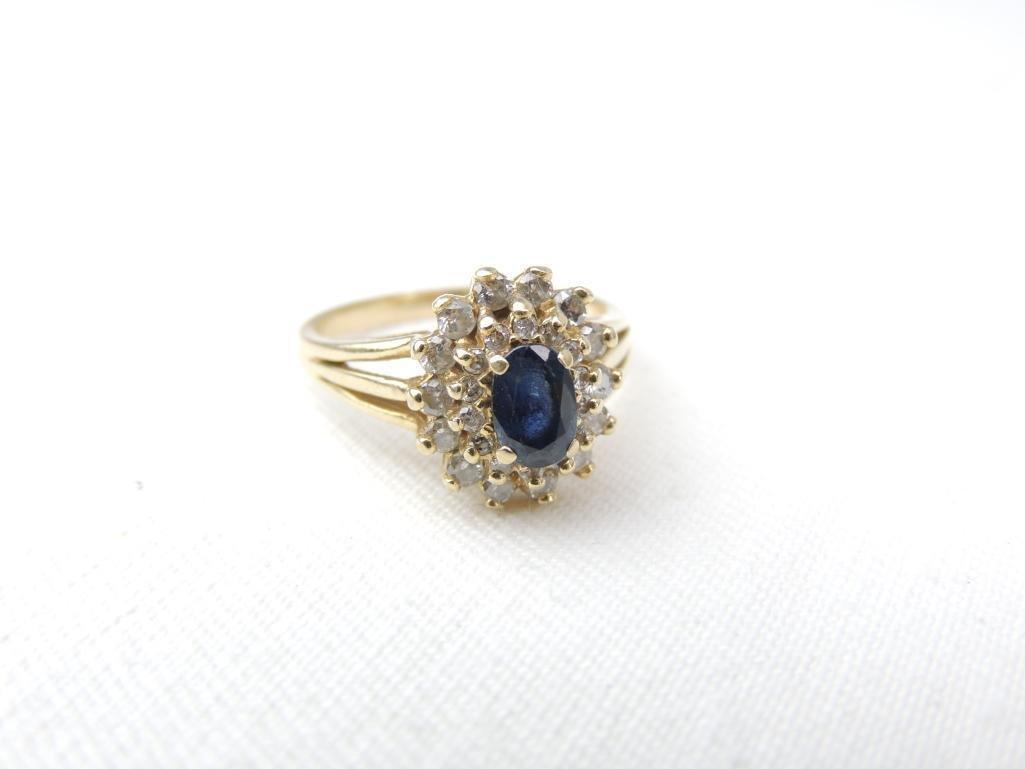 14k Yellow Gold Sapphire/Diamond Ring