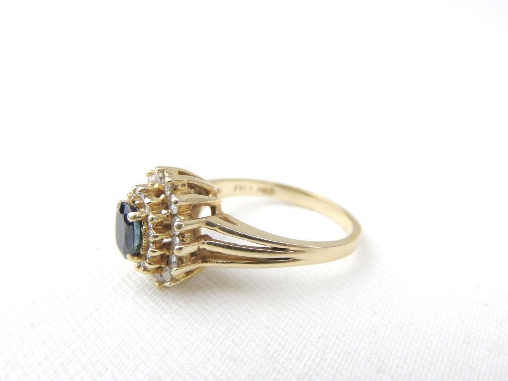 14k Yellow Gold Sapphire/Diamond Ring - 2
