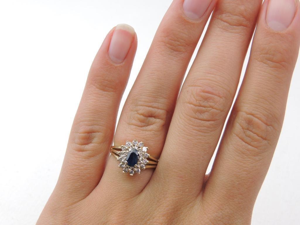 14k Yellow Gold Sapphire/Diamond Ring - 3