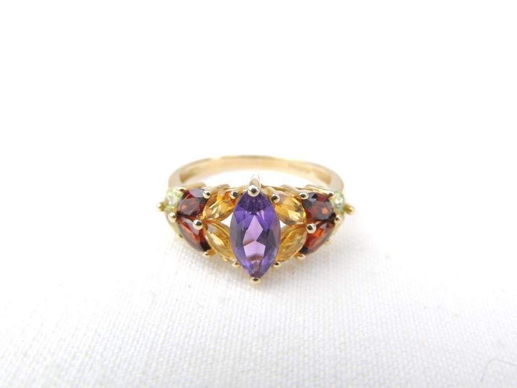 14k Yellow Gold Multi-Gemstone Ring