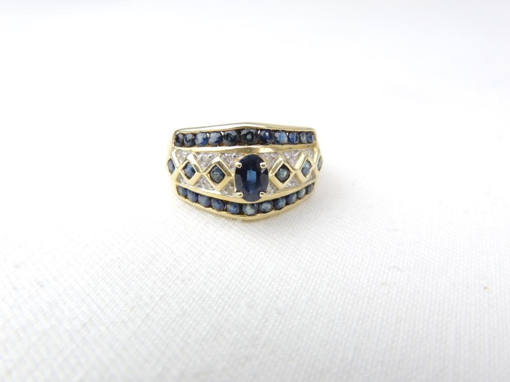 14k Yellow Gold Sapphire Diamond Ring
