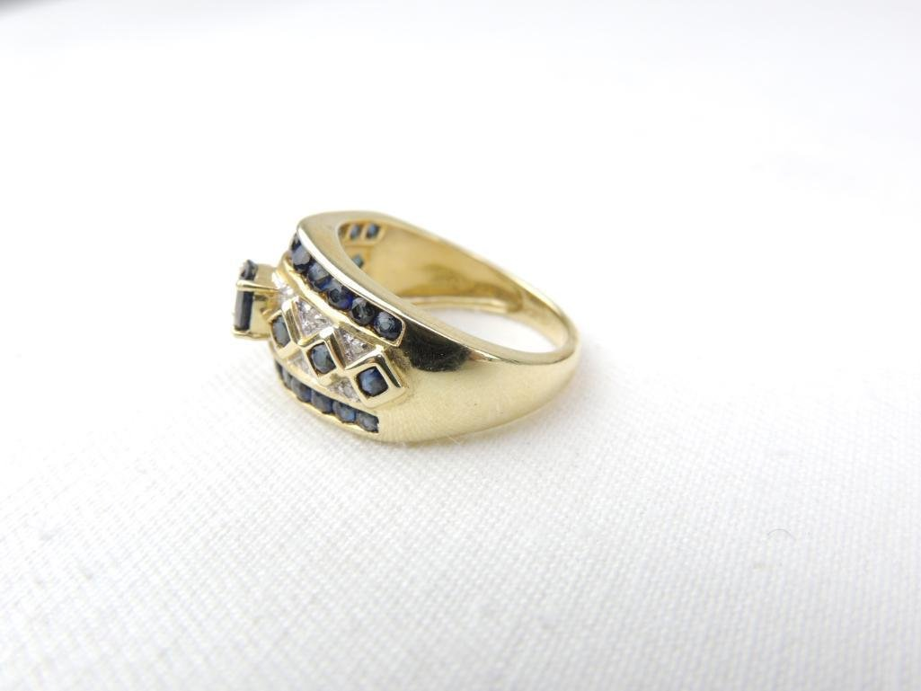 14k Yellow Gold Sapphire Diamond Ring - 2