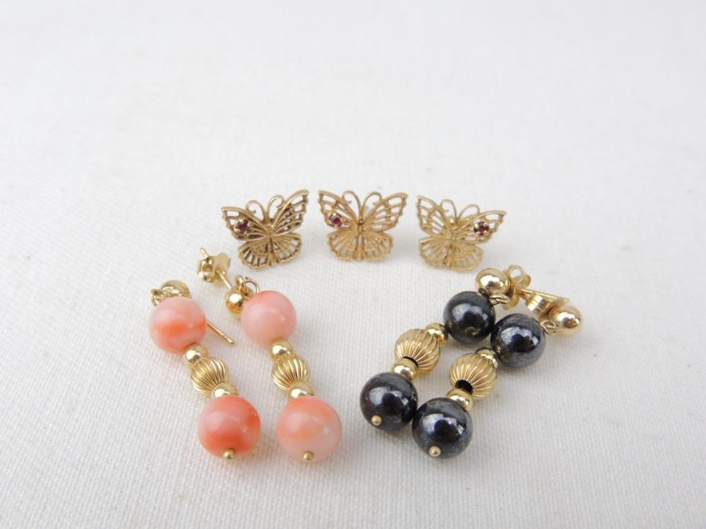 14k Yellow Gold Earrings Lot