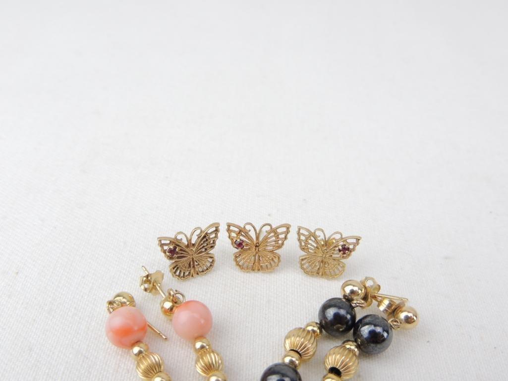 14k Yellow Gold Earrings Lot - 2