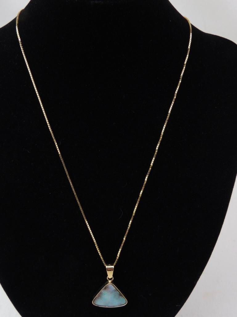 14k Yellow Gold Opal Pendant & Chain - 2