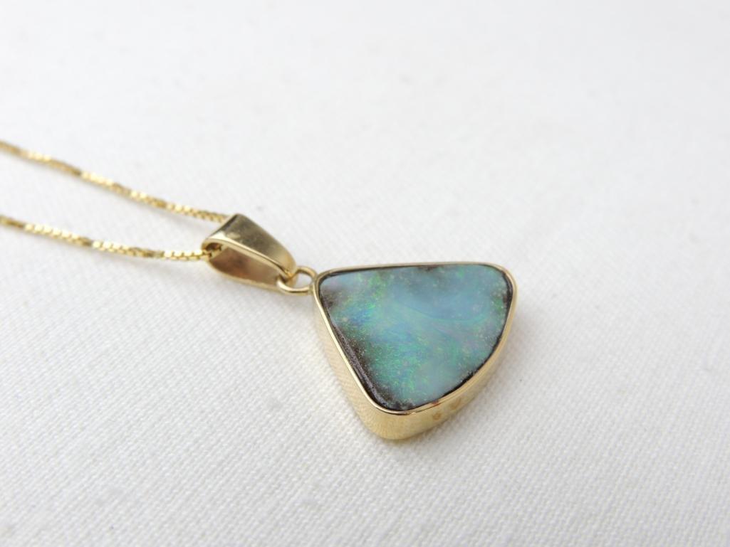 14k Yellow Gold Opal Pendant & Chain - 5