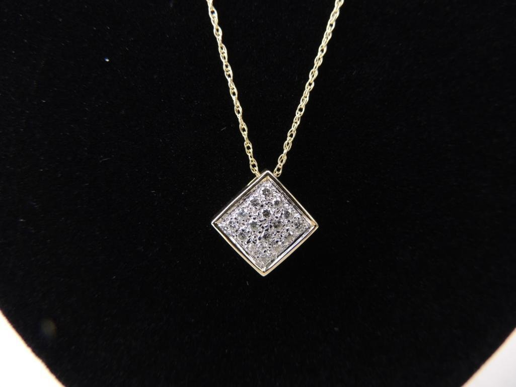 14k Yellow Gold Chain & Diamond Pendant