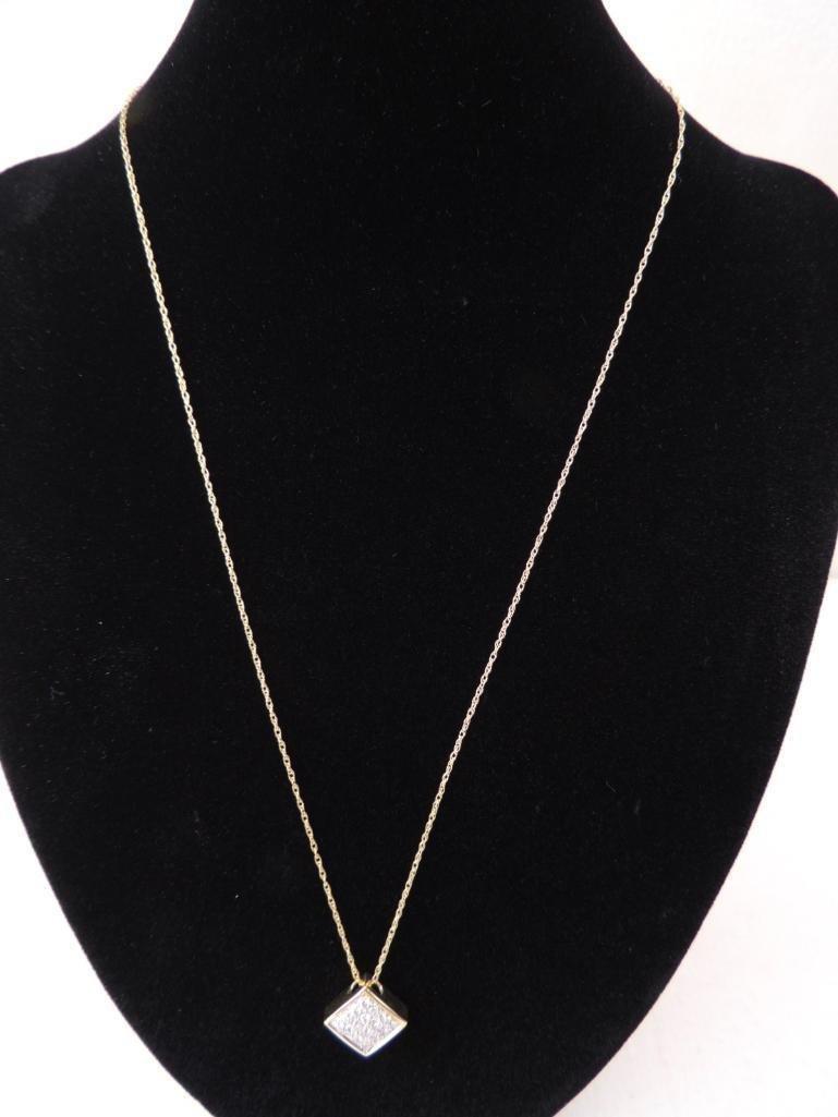 14k Yellow Gold Chain & Diamond Pendant - 2