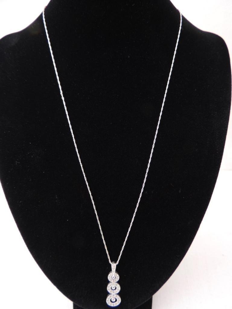14k White Gold Rope Chain & Diamond Pendant - 2