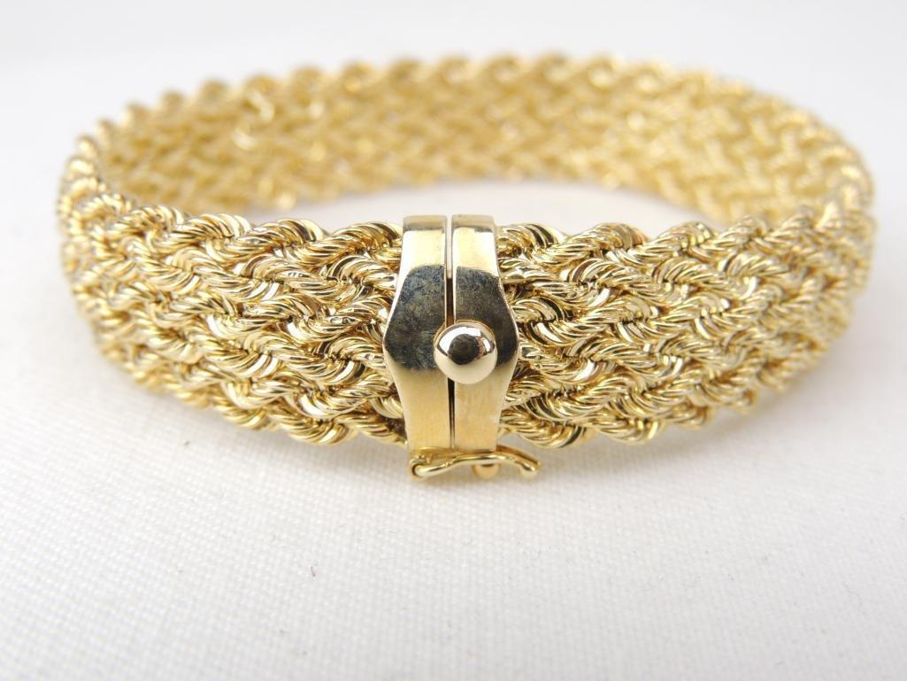 14k Yellow Gold Braided Bracelet - 3