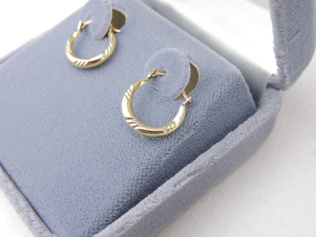 10k Yellow Gold Hoop Earrings - 2