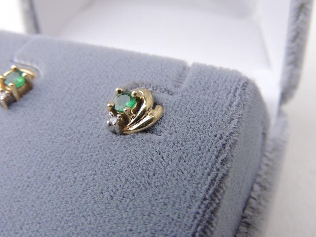 14k Yellow Gold Emerald & Diamond Earrings - 2
