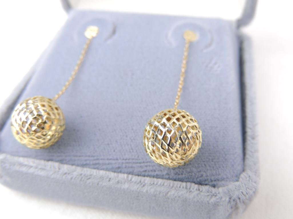 14k Yellow Gold Drop Earrings - 2