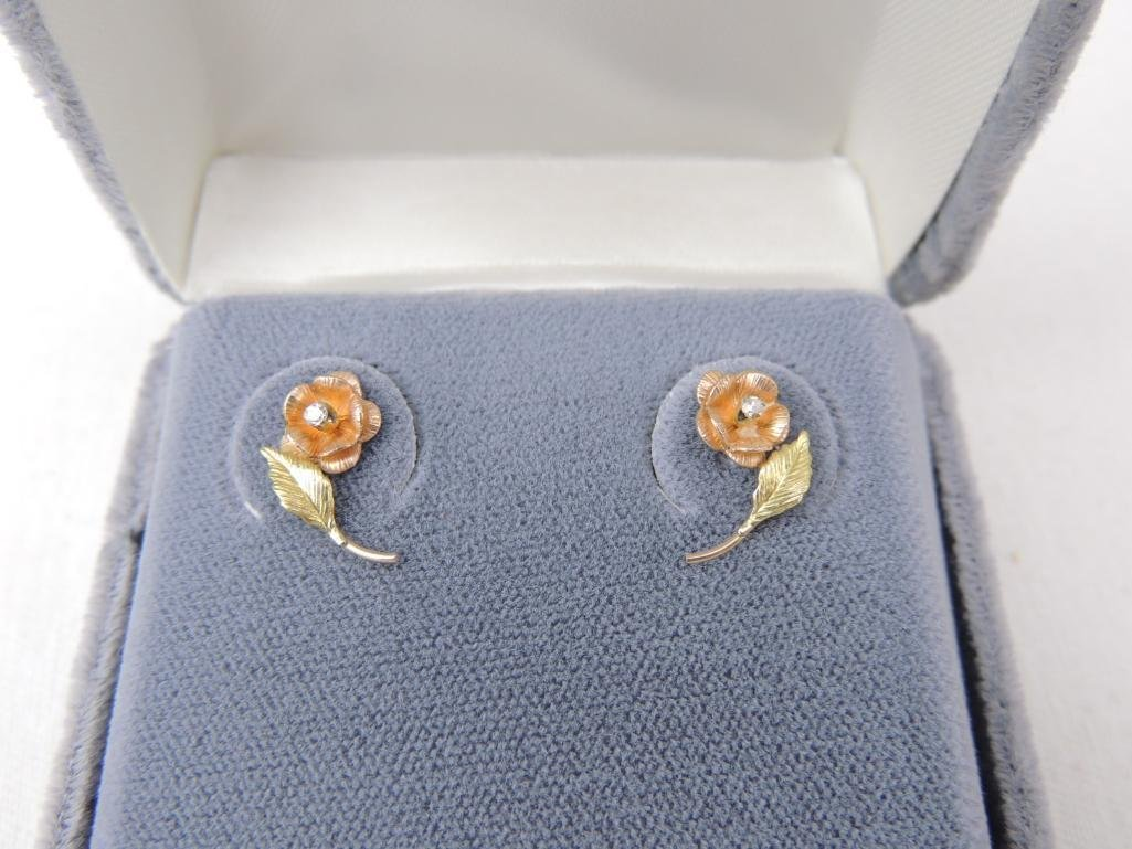 10k Black Hills Gold Diamond Flower Earrings