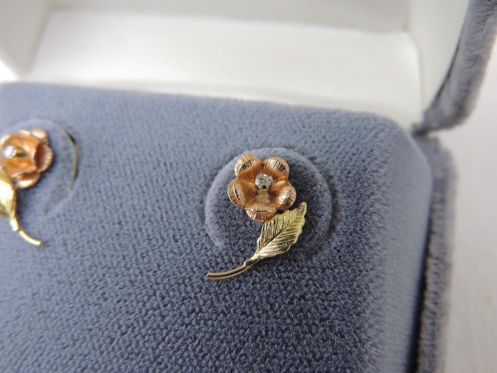 10k Black Hills Gold Diamond Flower Earrings - 2
