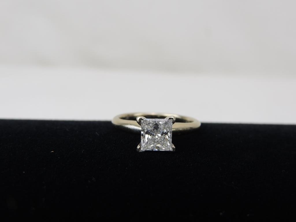 18k Yellow Gold Princess Cut Diamond Solitaire Ring w - 3