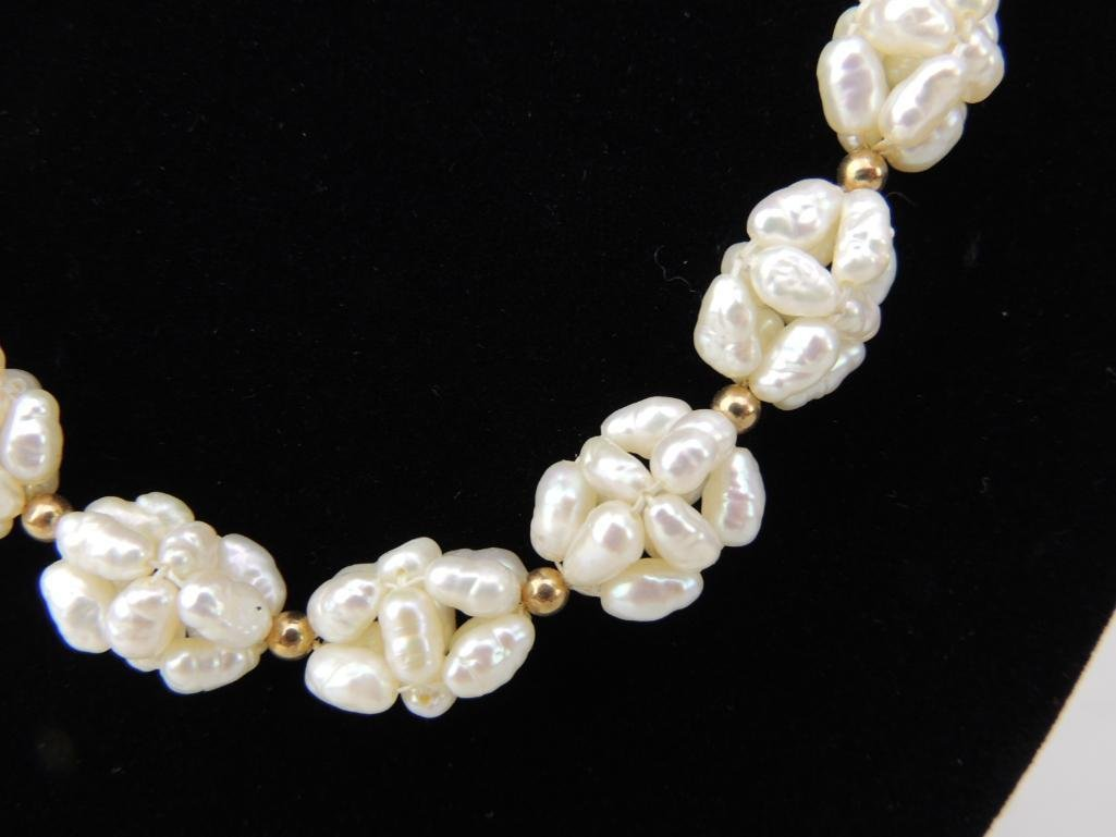 Pearl Necklace with Gold Beads - 2