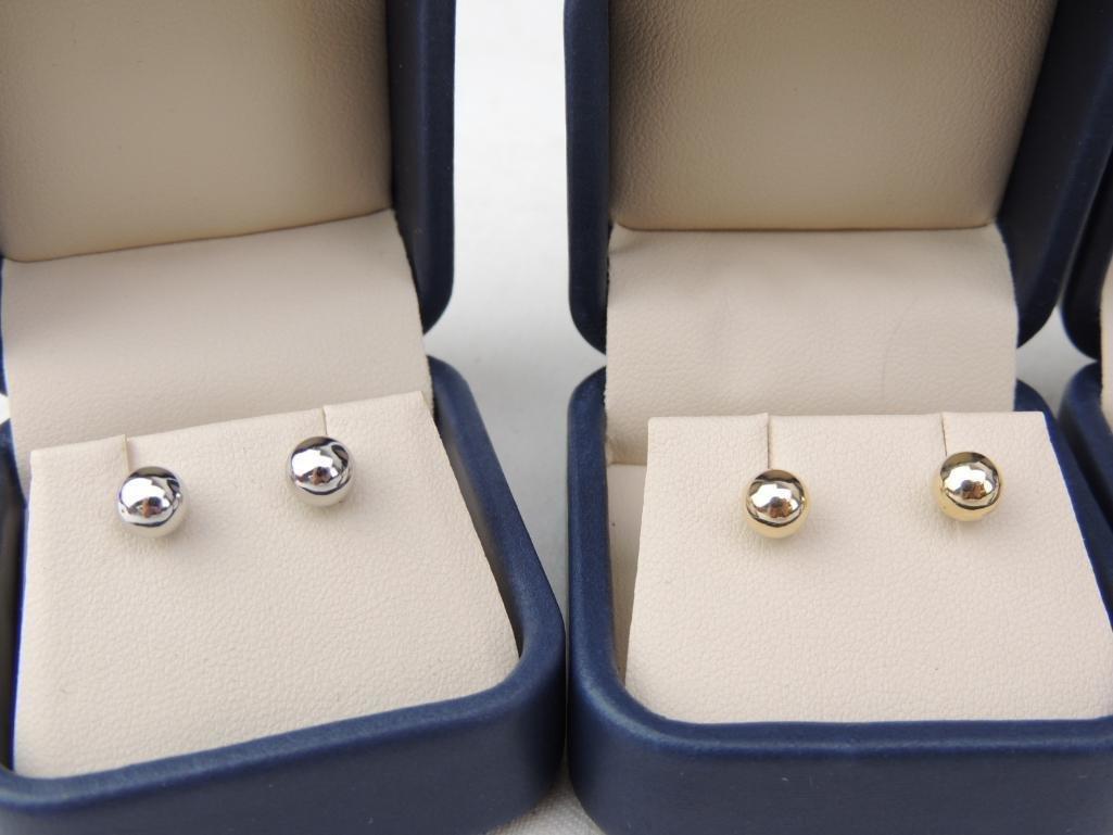 Lot of 4 14k Gold Ball Earrings - 2