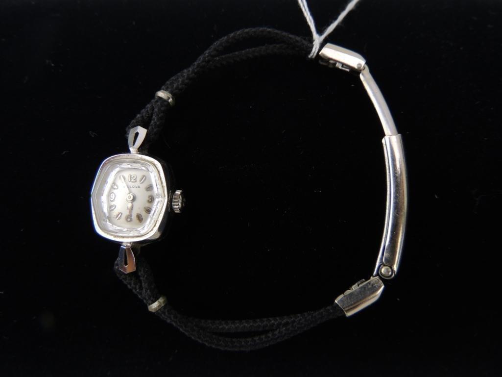 14k Solid White Gold Ladies Bulova Wrist Watch