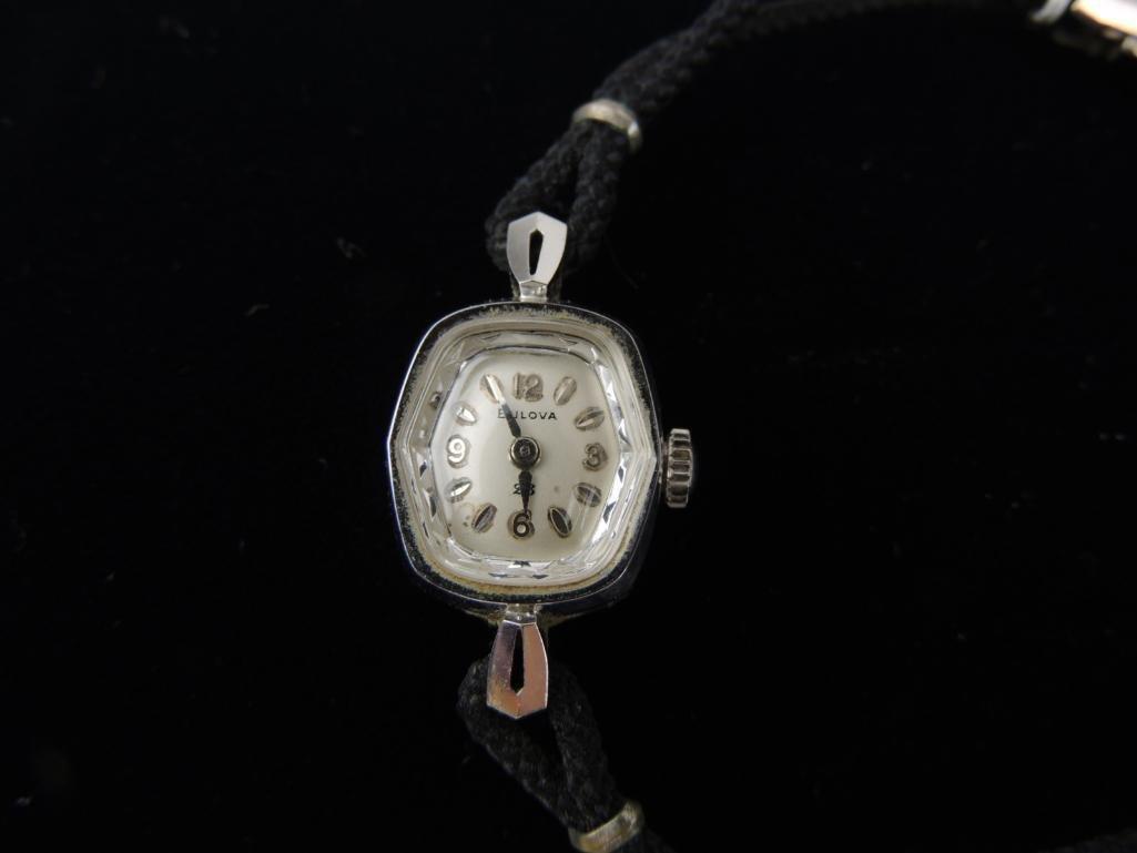 14k Solid White Gold Ladies Bulova Wrist Watch - 2