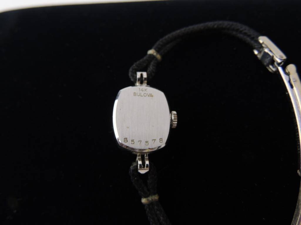 14k Solid White Gold Ladies Bulova Wrist Watch - 3
