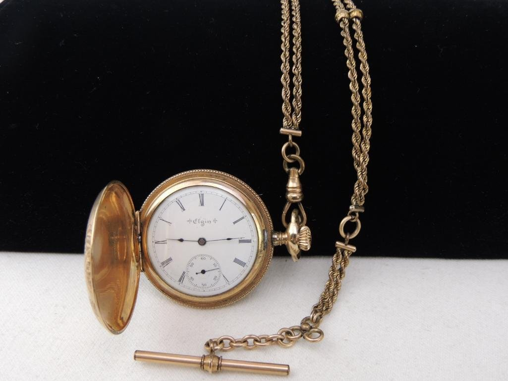 Antique Elgin Pocket Watch with Chain - 2
