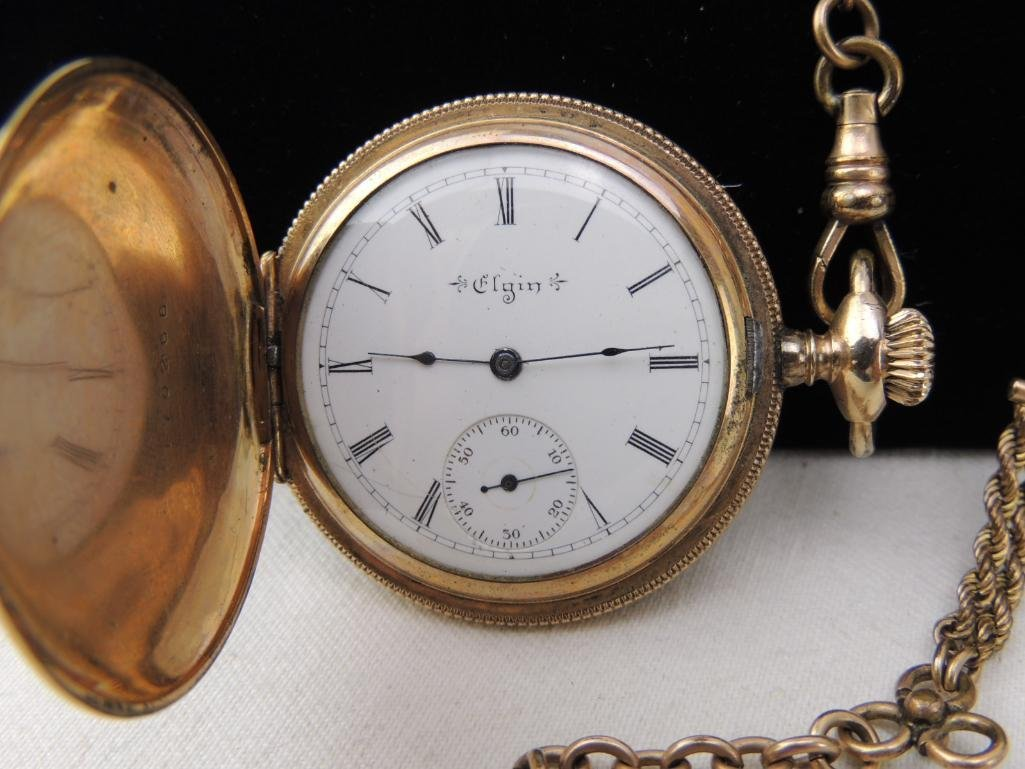 Antique Elgin Pocket Watch with Chain - 3