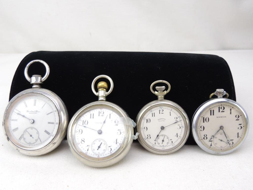 Group of 4 Vintage Open Faced Pocket Watches