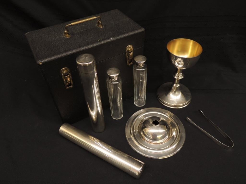 Vintage Gorham Silver Priest's Communion Set with Case