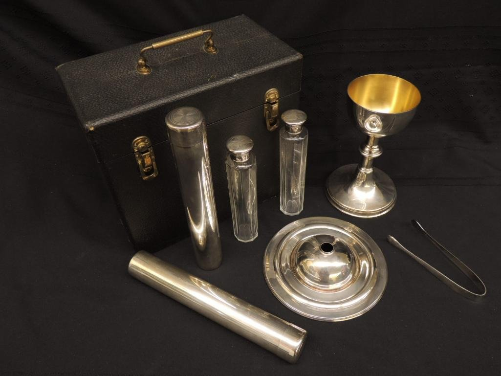 Vintage Gorham Silver Priest's Communion Set with Case - 2