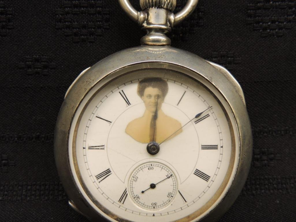 Antique Illinois Watch Co Pocket Watch with Victorian - 2