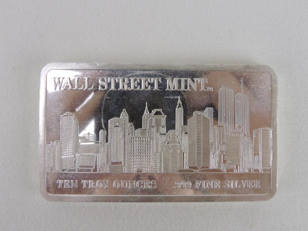 Wall Street Mint Ten Troy Ounces .999 Fine Silver Bar