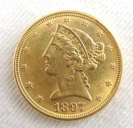 Uncirculated 1897 $5.00 Gold Liberty Coronet