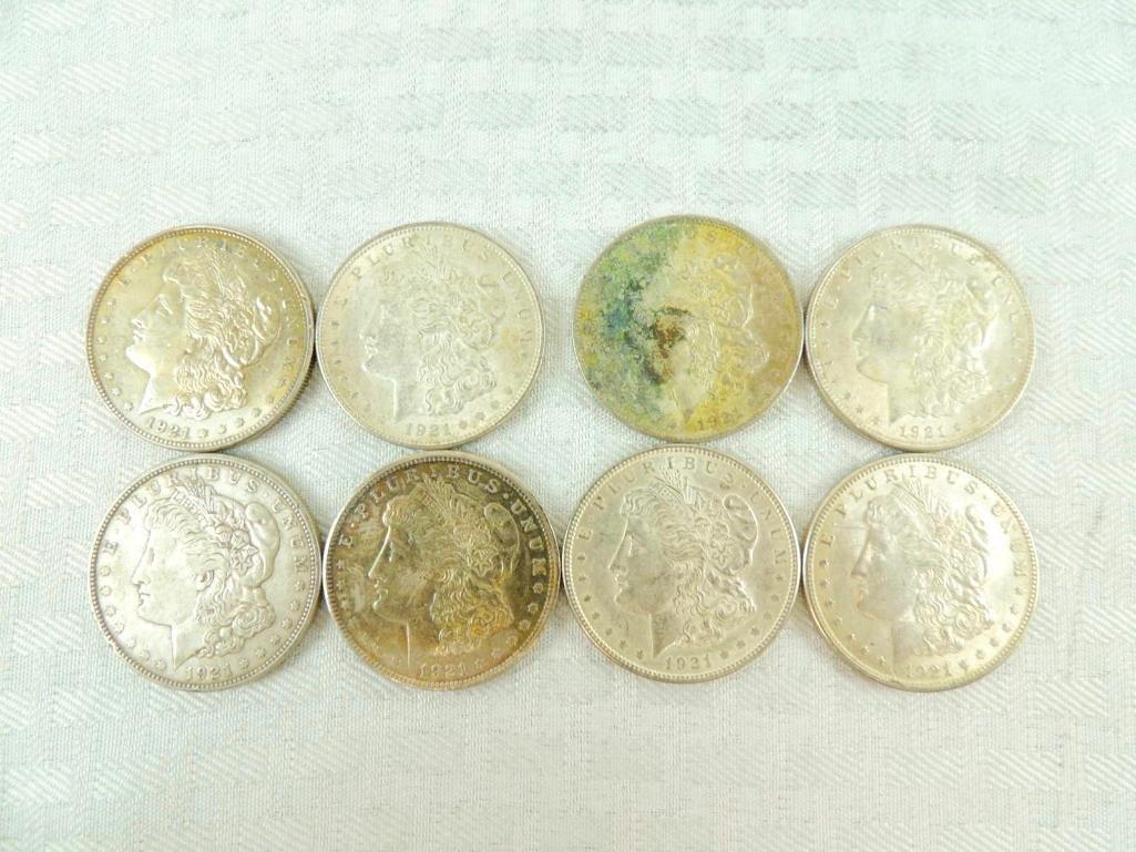 Group of 8 1921 Morgan Silver Dollars