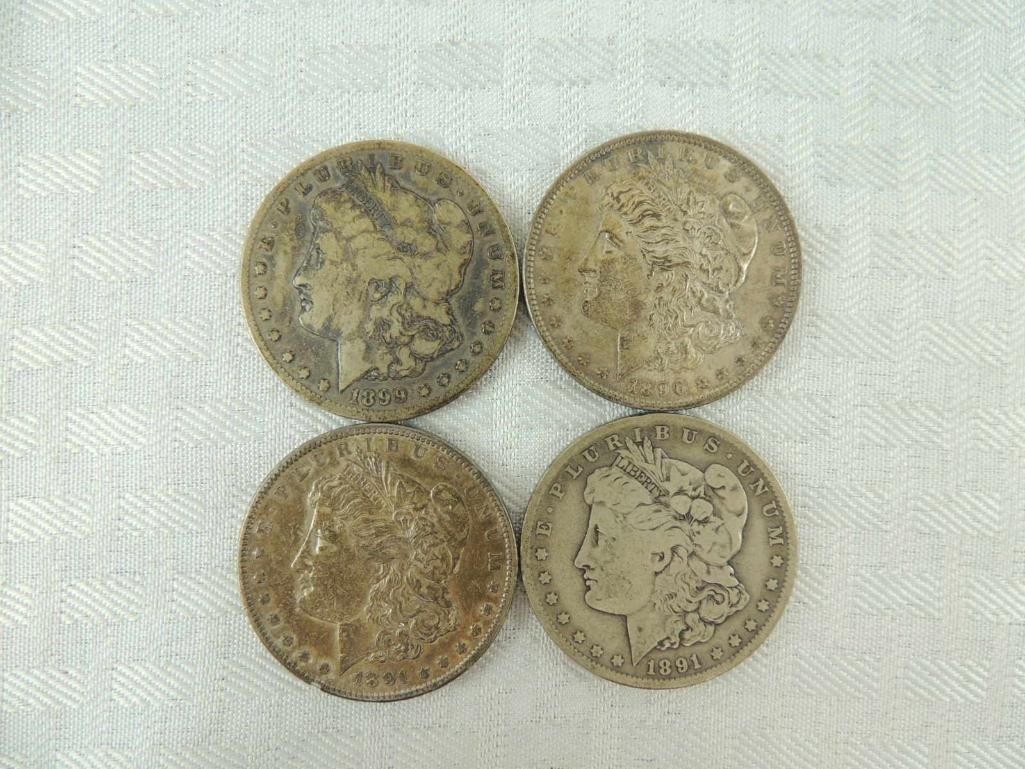1899 O, 1891, S, 1891 O, and 1896 P Morgan Silver