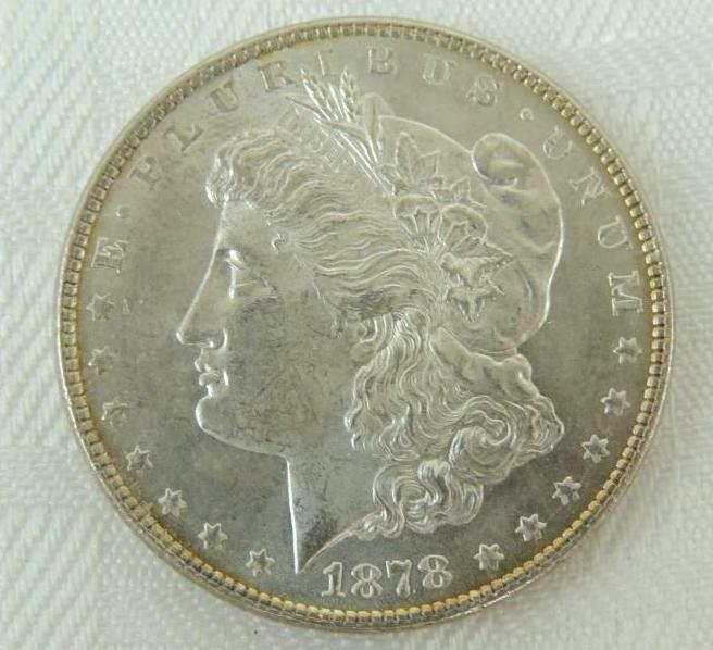 1878-P 7 over 8 Tail Feathers Morgan Silver Dollar