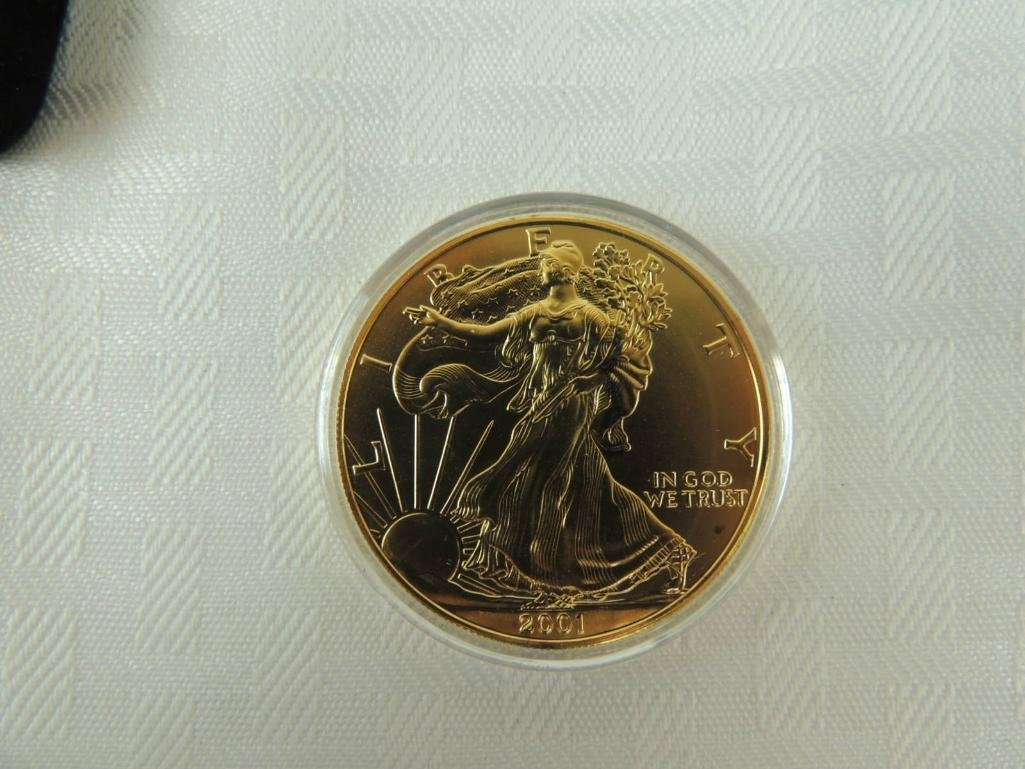 2001 24 Karat Gold Plated Silver Eagle with Original - 2