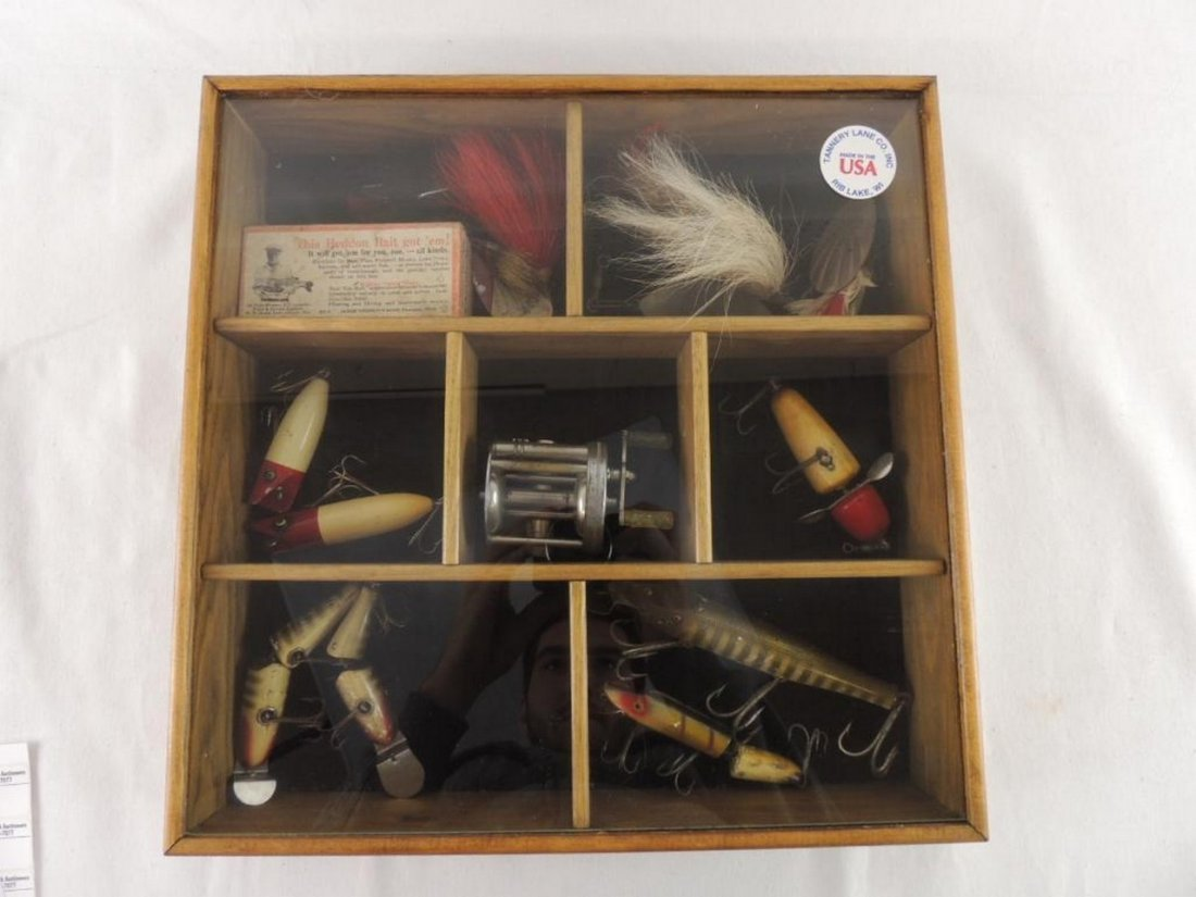 Group of Vintage Fishing Lures with Wood Display Case