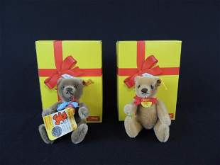 Group of 2 German Steiff Bears with Original Boxes and