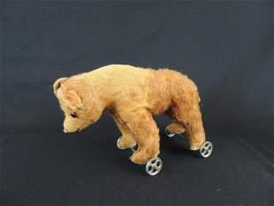 Antique Steiff Pull Along Teddy Bear with Wheels