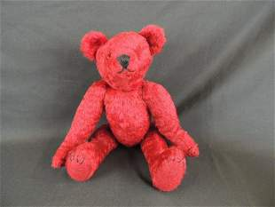 Vintage Red Teddy Bear with Growler